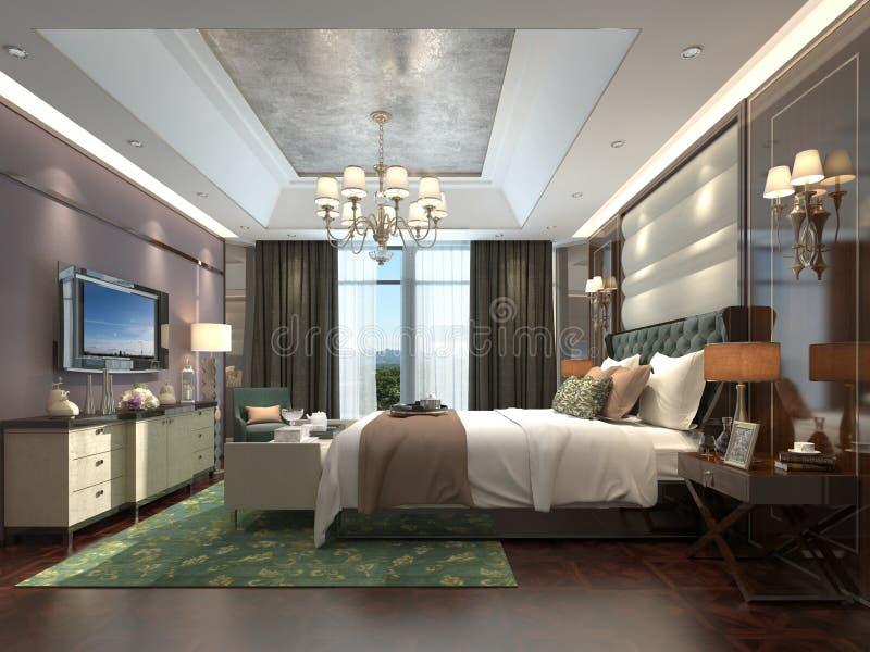 Ejemplo interior 3D del dormitorio stock de ilustración