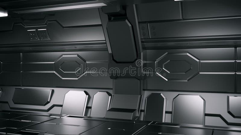 Ejemplo interior 3d del pasillo de la estación espacial de la ciencia ficción libre illustration