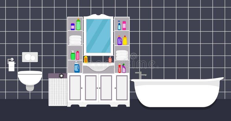 Ejemplo interior del cuarto de baño moderno en estilo plano Cuarto de baño con el retrete, bañera, espejo, fregadero, gabinetes,  stock de ilustración