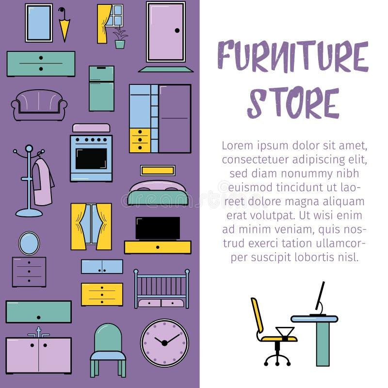 Ejemplo interior del diseño del vector de la tienda de los muebles Colección de muebles de moda del diseñador Tabla, silla, sofá  ilustración del vector