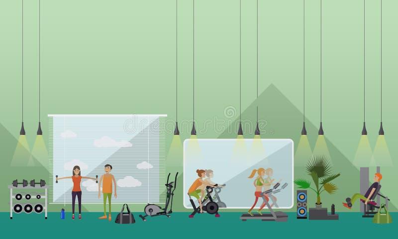 Ejemplo interior del vector del centro de aptitud La gente se resuelve en banderas horizontales del gimnasio ilustración del vector