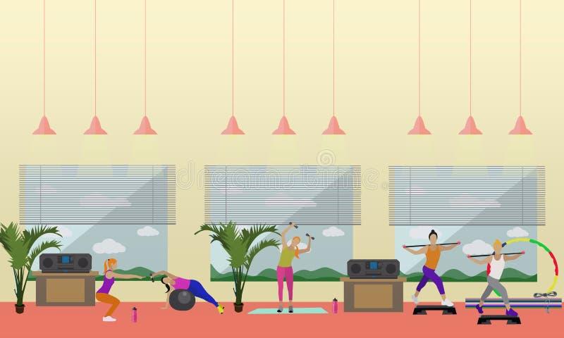 Ejemplo interior del vector del centro de aptitud La gente se resuelve en banderas horizontales del gimnasio Concepto de las acti libre illustration