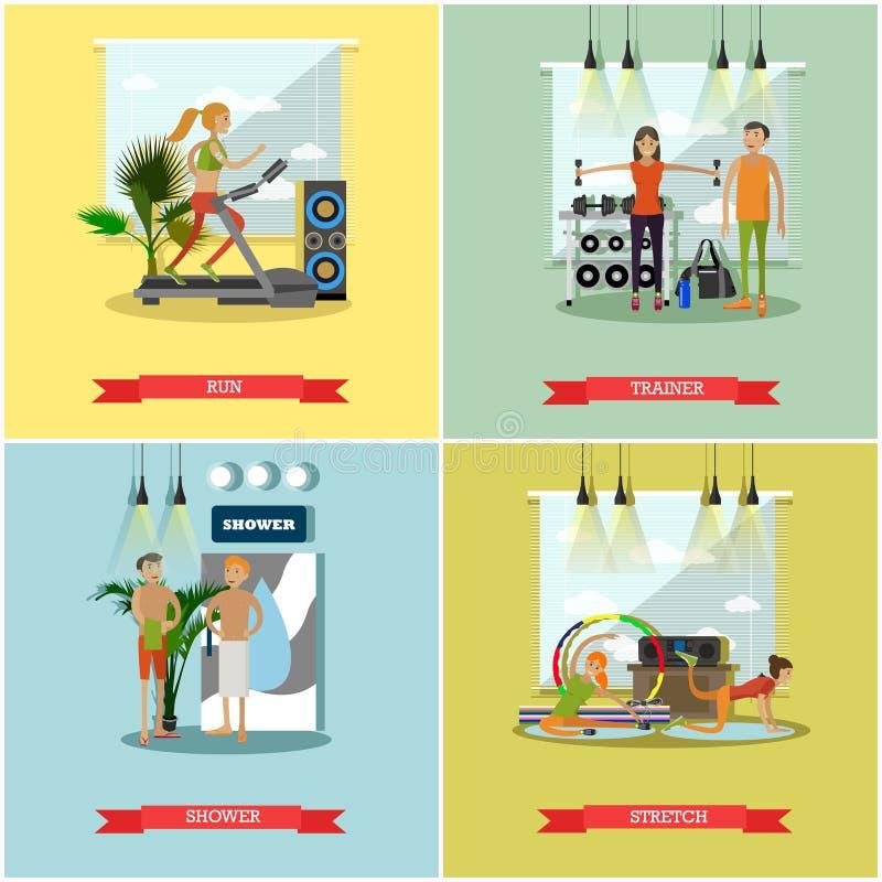 Ejemplo interior del vector del centro de aptitud La gente se resuelve en gimnasio Concepto de las actividades del deporte stock de ilustración