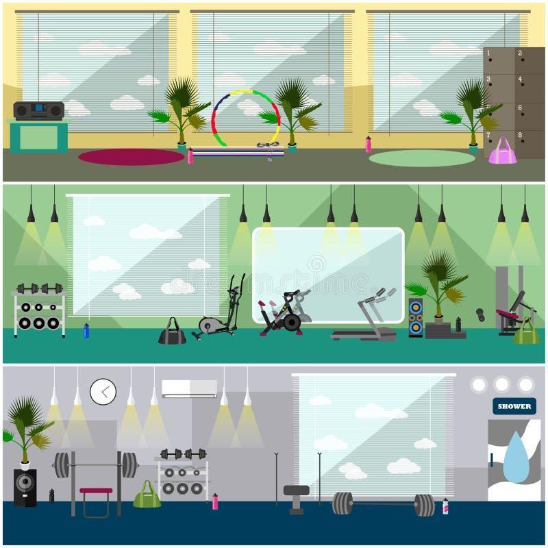 Ejemplo interior del vector del centro de aptitud Resuélvase en banderas horizontales del gimnasio Concepto de las actividades de libre illustration
