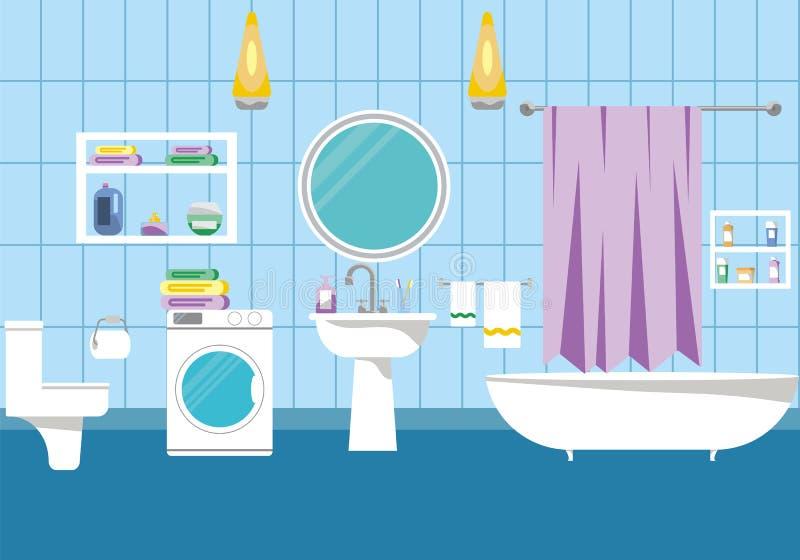 Ejemplo interior del vector del cuarto de baño stock de ilustración