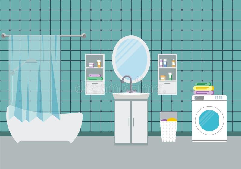 Ejemplo interior del vector del cuarto de baño ilustración del vector