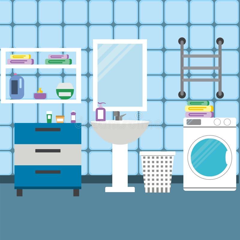 Ejemplo interior del vector del cuarto de baño libre illustration
