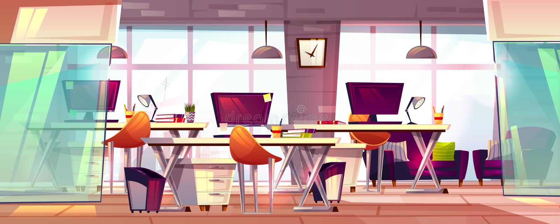 Ejemplo interior del vector del espacio de trabajo de la oficina ilustración del vector