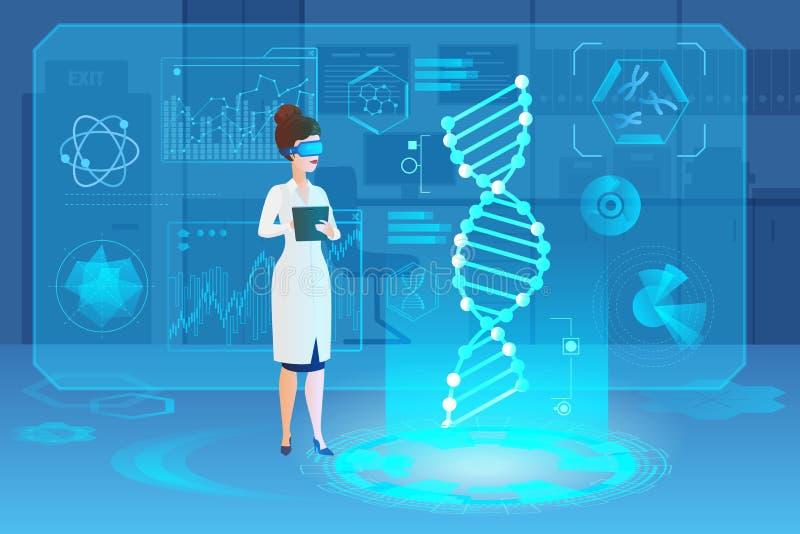 Ejemplo interior del vector del holograma del laboratorio médico de la DNA ilustración del vector