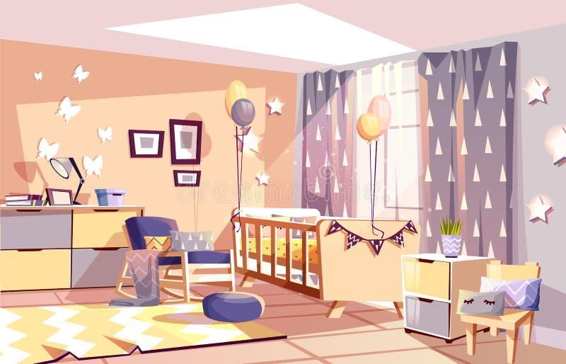 Ejemplo interior del vector del sitio del bebé del cuarto de niños ilustración del vector