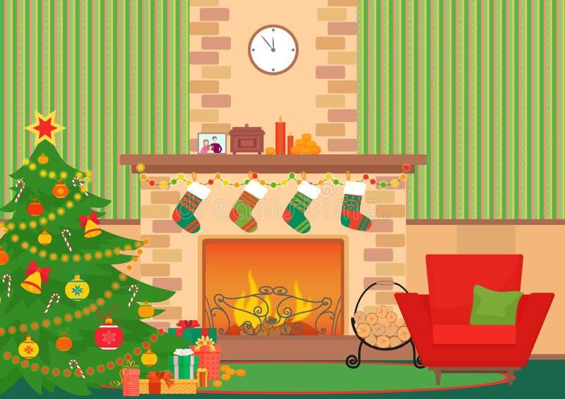 Ejemplo interior plano del vector de la sala de estar de la Navidad Árbol y chimenea del Año Nuevo de la Navidad con los calcetin ilustración del vector