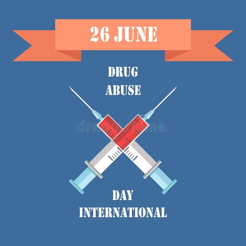 Ejemplo internacional del vector del día de la tenencia ilícita de drogas stock de ilustración