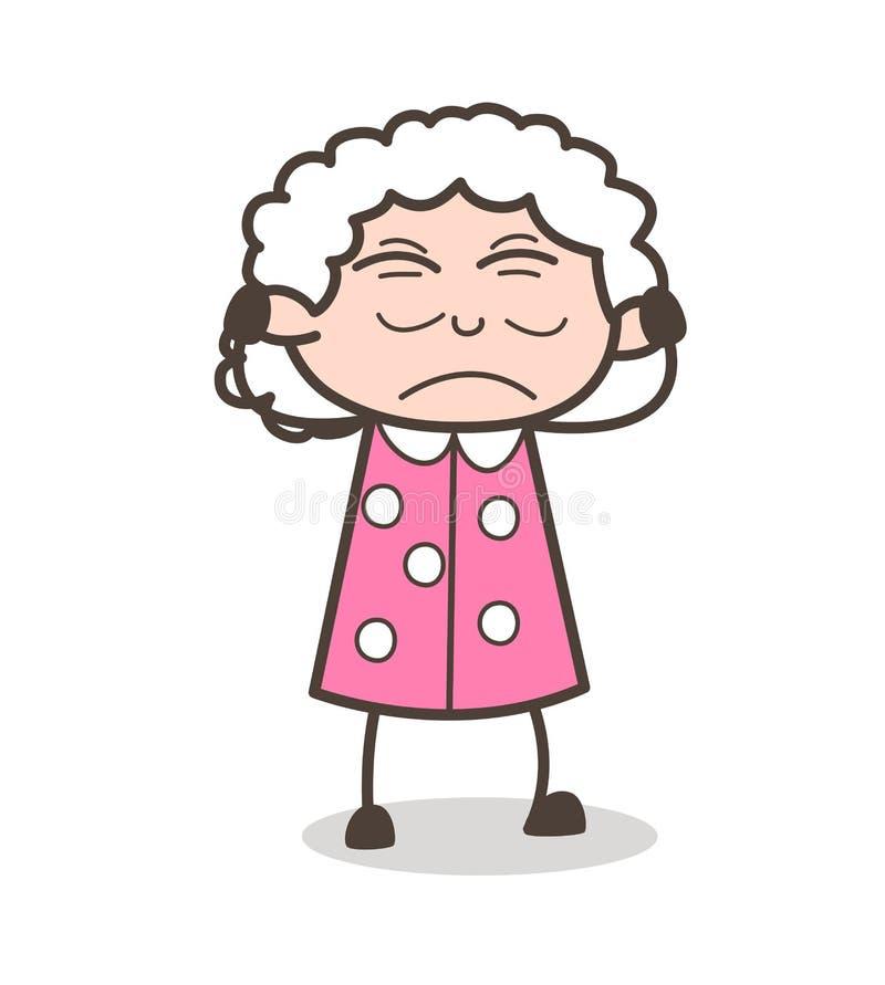 Ejemplo irritado historieta de Face Expression Vector de la señora mayor stock de ilustración
