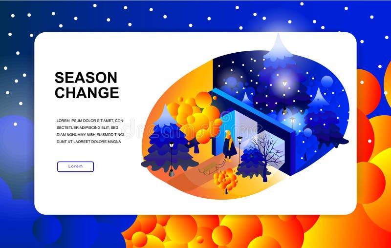Ejemplo isométrico Cambio de la estación Otoño, invierno Niño con un trineo ilustración del vector