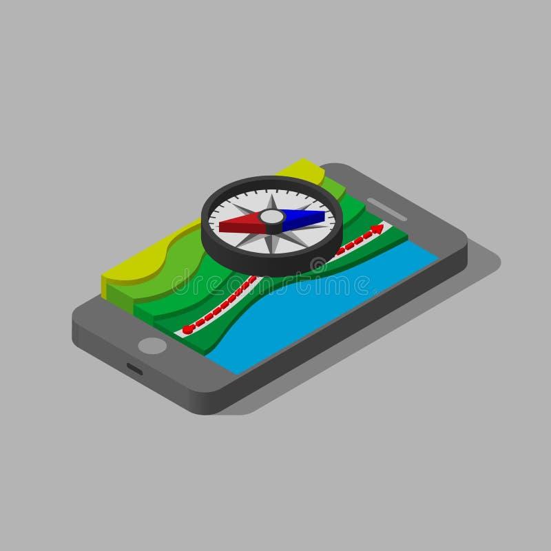 ejemplo isométrico 3d Compás magnético tridimensional sobre el mapa libre illustration