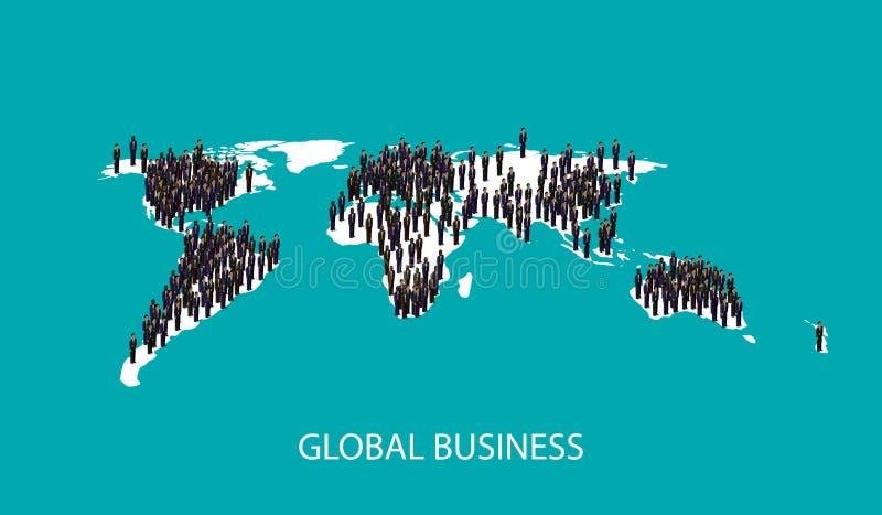 ejemplo isométrico 3d de los hombres de negocios que se colocan en la forma global del mapa del mundo concepto de la cooperación  stock de ilustración