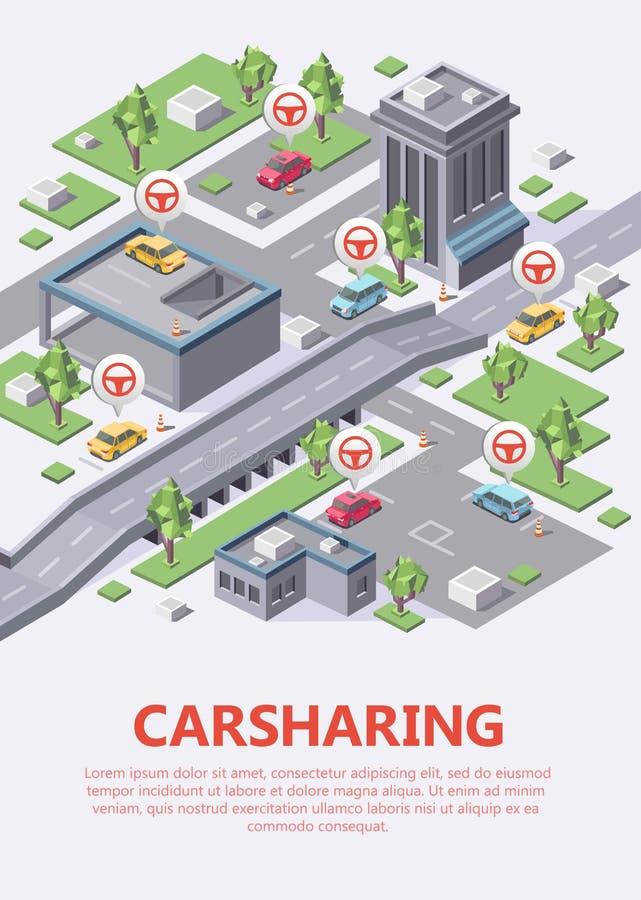 Ejemplo isométrico 3d del vector del mapa del coche compartido de la distribución de coche o de la ubicación del estacionamiento  ilustración del vector