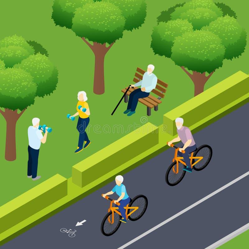 Ejemplo isométrico de la actividad al aire libre de los pensionistas stock de ilustración