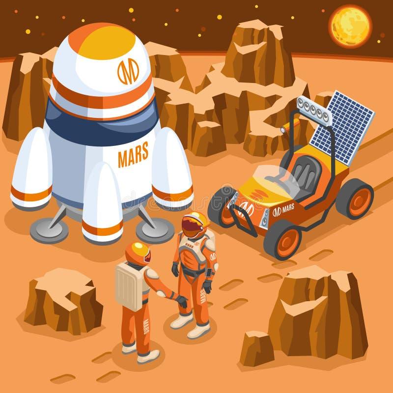 Ejemplo isométrico de la exploración de Marte libre illustration