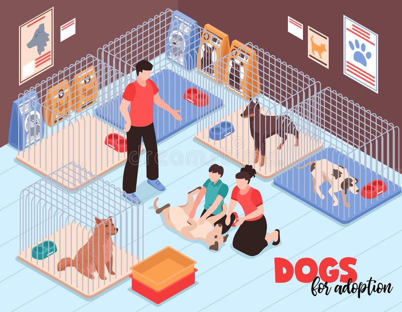 Ejemplo isométrico de la familia del refugio del perro stock de ilustración