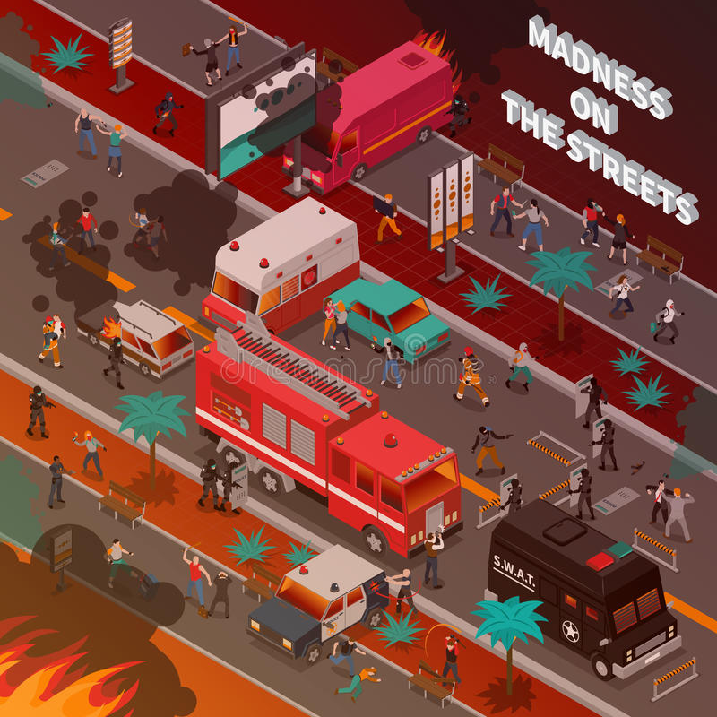 Ejemplo isométrico de la guerra de la calle ilustración del vector