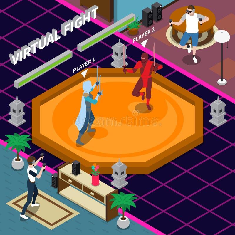 Ejemplo isométrico de la lucha virtual ilustración del vector