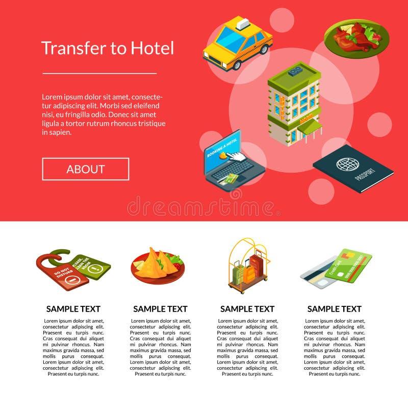 Ejemplo isométrico de la página de los iconos del hotel del vector ilustración del vector