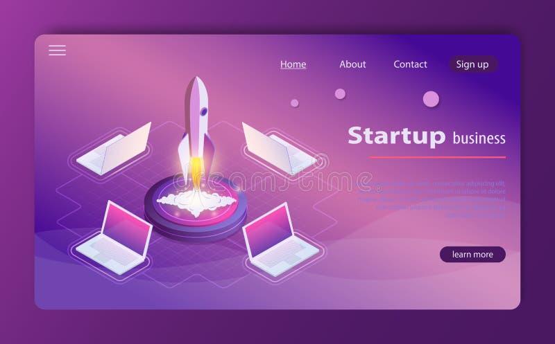 Ejemplo isométrico de lanzamiento del vector del infographics de la web del concepto del negocio de la tecnología del estilo 3d libre illustration
