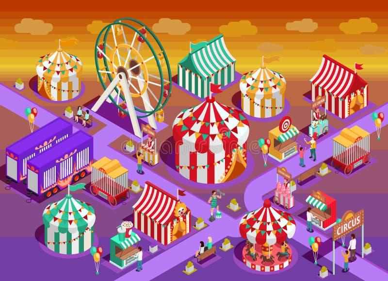 Ejemplo isométrico de las atracciones del circo del parque de atracciones stock de ilustración