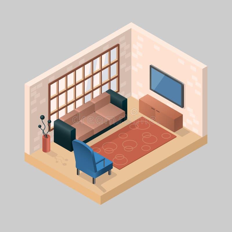 Ejemplo isométrico de un cuarto con muebles y de símbolos de c ilustración del vector