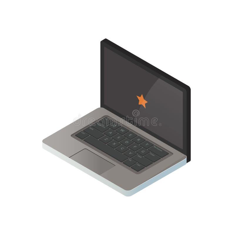 Ejemplo isométrico de un ordenador portátil imagen realista 3d Dispositivo portátil u ordenador Ilustración del vector stock de ilustración
