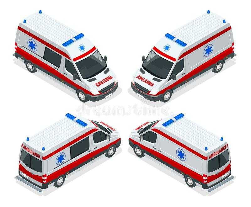 Ejemplo isométrico de van vector de la ambulancia del sistema del transporte Accidente médico de la evacuación de la emergencia a ilustración del vector