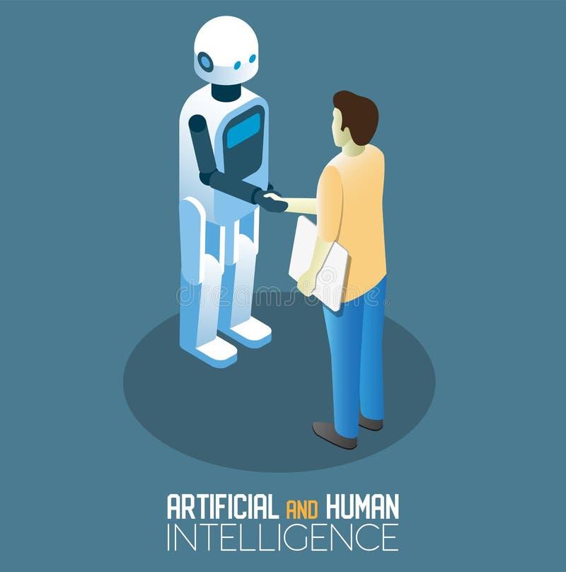 Ejemplo isométrico del AI y del vector humano del concepto ilustración del vector