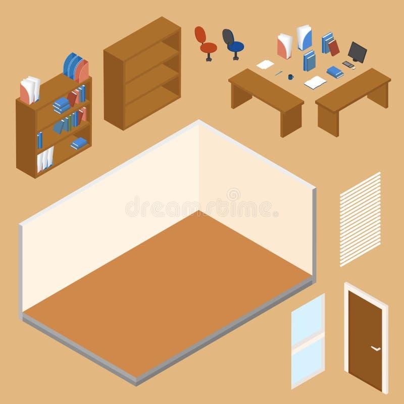Ejemplo isométrico del concepto del vector del lugar de trabajo de la oficina stock de ilustración