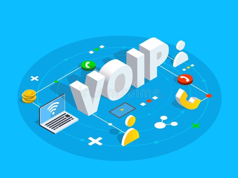Ejemplo isométrico del concepto del vector de Voip Voz sobre el IP o la internacional stock de ilustración