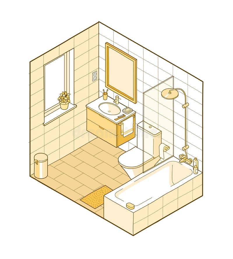 Ejemplo isométrico del cuarto de baño Visión interior dibujada mano libre illustration