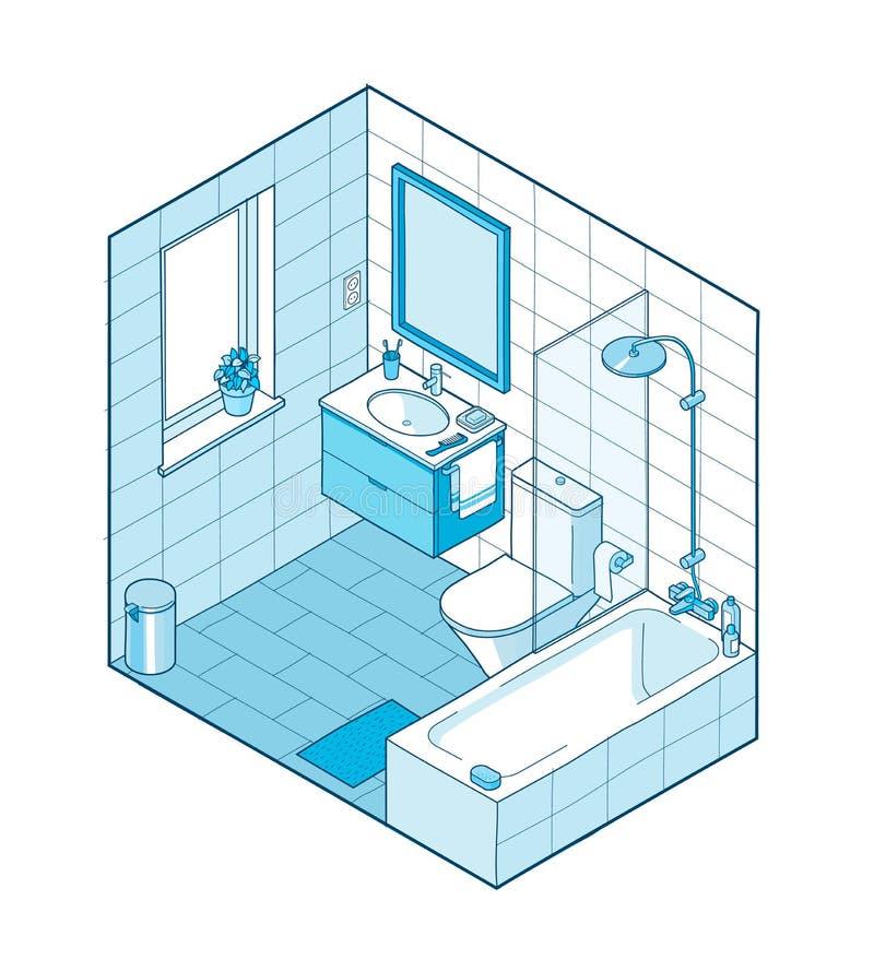 Ejemplo isométrico del cuarto de baño Visión interior dibujada mano ilustración del vector