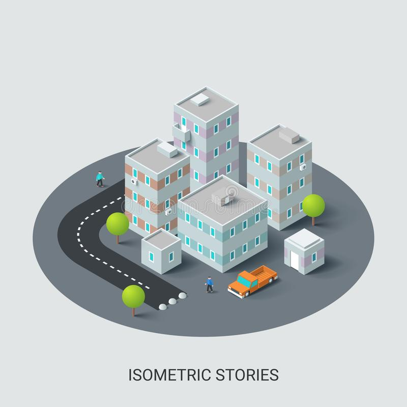 Ejemplo isométrico del distrito de una ciudad ilustración del vector