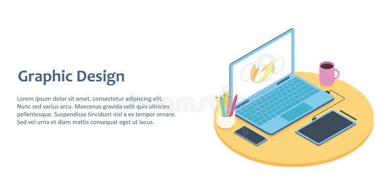 Ejemplo isométrico del lugar de trabajo del diseñador con el ordenador y la tableta de gráficos ilustración del vector