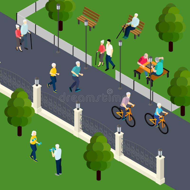 Ejemplo isométrico del pasatiempo de los pensionistas ilustración del vector