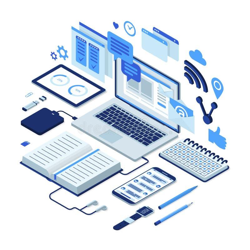 Ejemplo isométrico del proceso de trabajo, gestión de tiempo, análisis de datos stock de ilustración