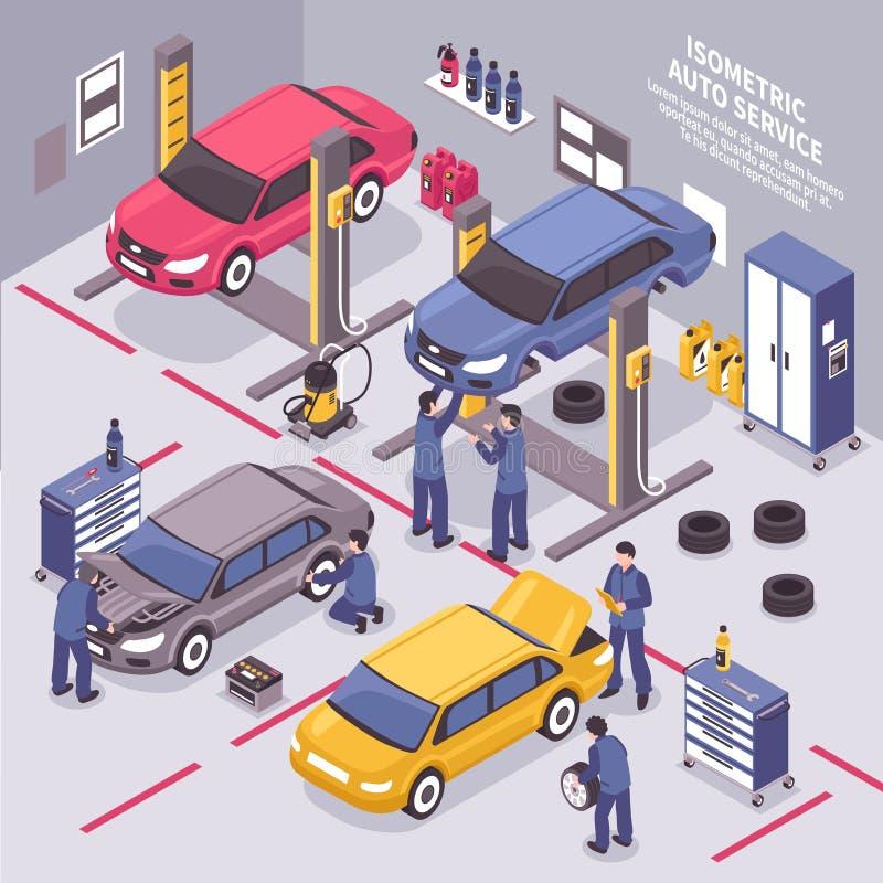 Ejemplo isométrico del servicio auto libre illustration
