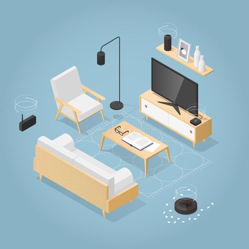 Ejemplo isométrico del Smart Home libre illustration