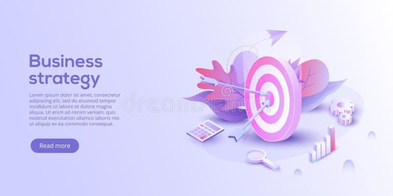 Ejemplo isométrico del vector del análisis de negocio Estrategia del crecimiento ilustración del vector