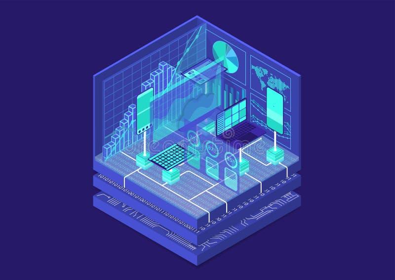 Ejemplo isométrico del vector del Analytics avanzado 3D abstracto infographic con los dispositivos móviles y los tableros de inst ilustración del vector