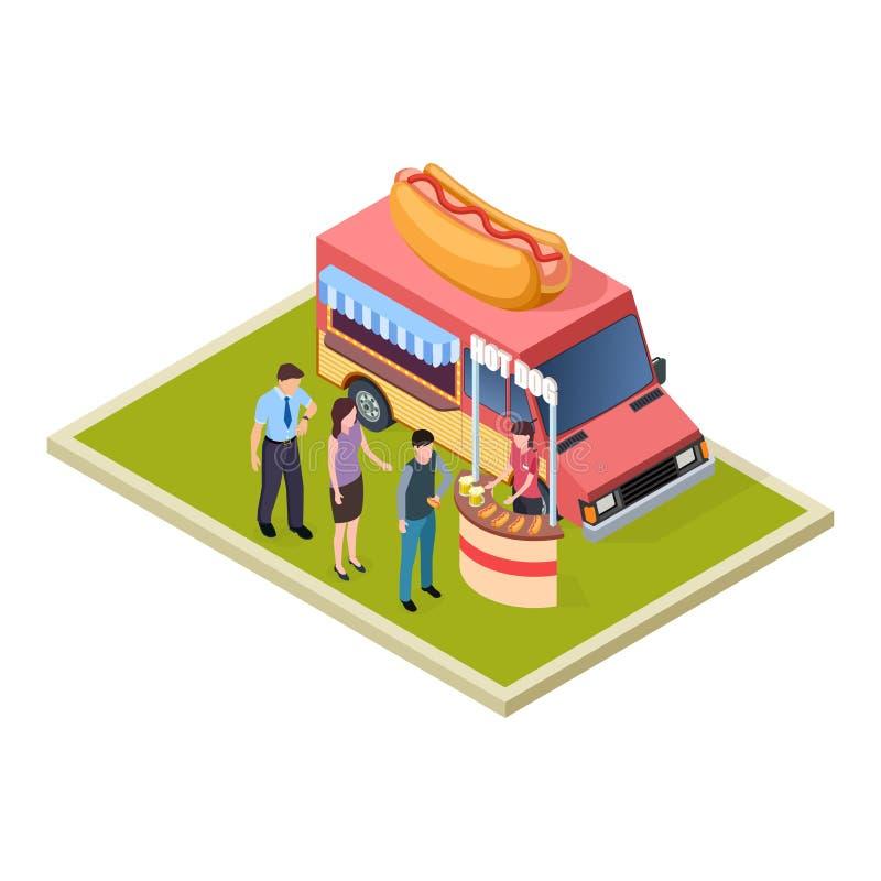 Ejemplo isométrico del vector del camión de la prueba del perrito caliente y de la cerveza del promo y de los alimentos de prepar libre illustration