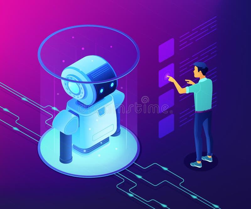 Ejemplo isométrico del vector del concepto del análisis de datos de la robótica ilustración del vector