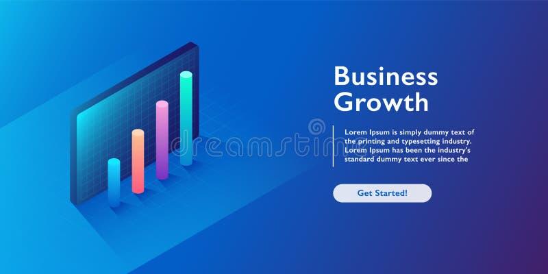 Ejemplo isométrico del vector del crecimiento del negocio Hombre de negocios abstracto con el fondo del ordenador portátil Aument ilustración del vector