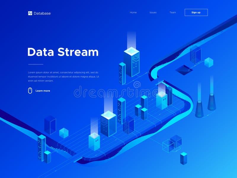 ejemplo isométrico del vector 3d del analytics y de las tecnologías grandes de los datos Ciudad y flujo de información abstractos stock de ilustración