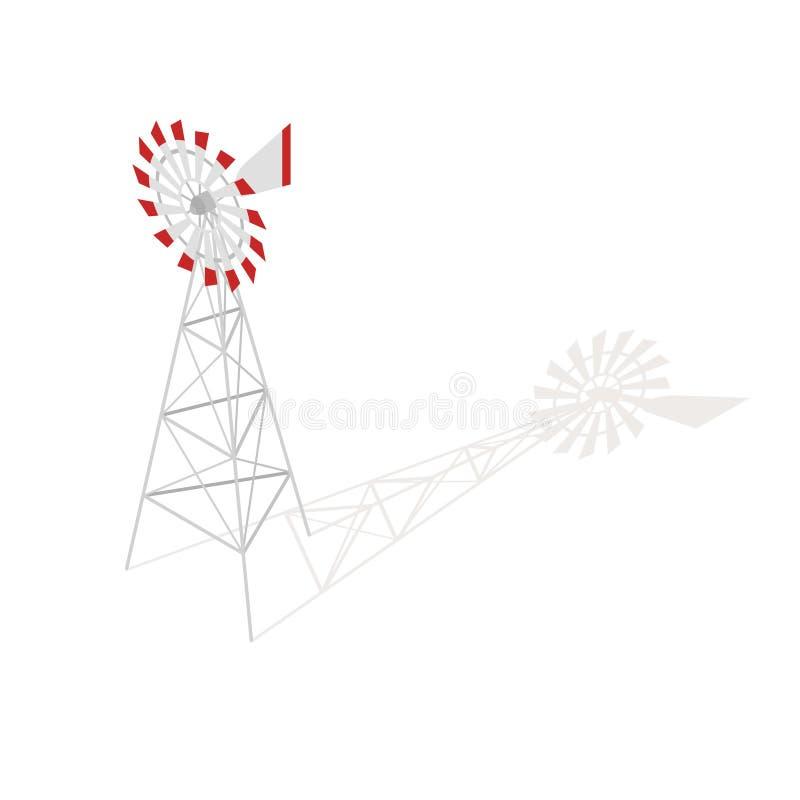 Ejemplo isométrico del vector 3d del molino de viento de la granja libre illustration
